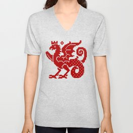Medieval Red Dragon Unisex V-Neck