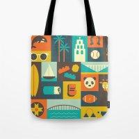 san diego Tote Bags featuring San Diego  by Ariel Wilson