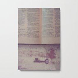 Book and Key Metal Print