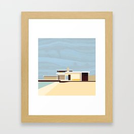 Mid Century Modern Kaufman House: Palm Springs: Architecture by Richard Neutra: Blue Yellow Brown Framed Art Print