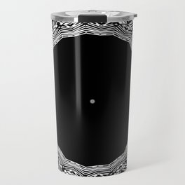 Feathers and Circles Kaleidoscope In Black and White Travel Mug