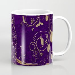 Golden Owl Crescent Moon Coffee Mug