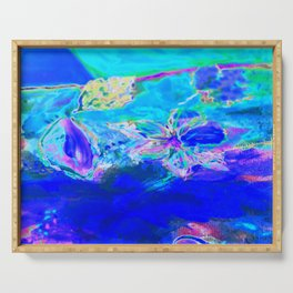 Tropical Electric Blue Abstract Digitally Enhanced Painting Photograph Serving Tray