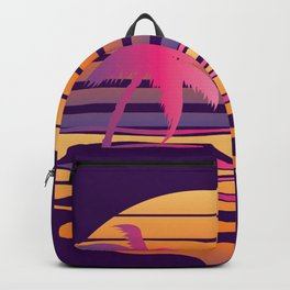 Retro striped sun and palm Backpack