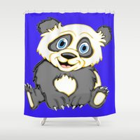 cartoons Shower Curtains featuring Smiling Panda by J&C Creations
