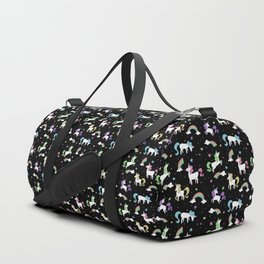 Unicorns and Rainbows - black -tiny Duffle Bag