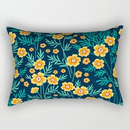 "Cute Floral pattern in the small yellow flower. ""Ditsy print"". Rectangular Pillow"