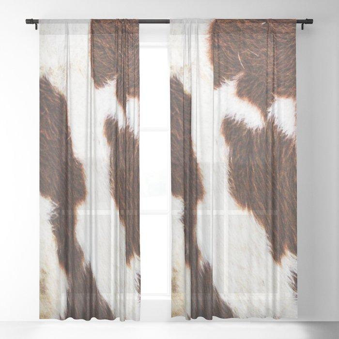 Cowhide Brown Spots Sheer Curtain