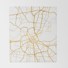 NASHVILLE TENNESSEE CITY STREET MAP ART Throw Blanket