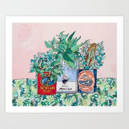 Jungle Botanical in Colorful Cans on Pink - Still Life Art Print