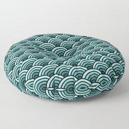 Japanese Waves Seigaiha Teal Floor Pillow