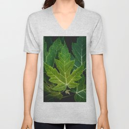 Farewell Green Leaves. Nature Photography Unisex V-Neck