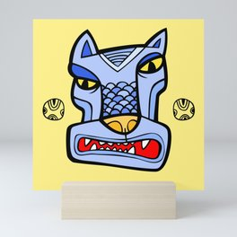 Blue totem wolf Mini Art Print