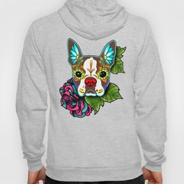 Boston Terrier in Red - Day of the Dead Sugar Skull Dog Hoody