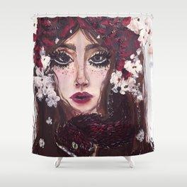 White Blossom Viper Shower Curtain