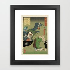 The Greedy Old Woman with a Box of Demons Framed Art Print