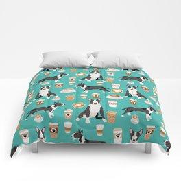 Bull Terrier coffee latte cafe dog breed cute custom pet portrait pattern Comforters