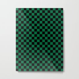 Black and Cadmium Green Checkerboard Metal Print