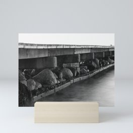 Pier black white Mini Art Print