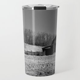 Days Gone By - Old Arkansas Barn in Black and White Travel Mug
