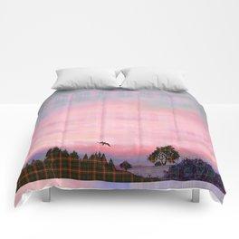 Plaid Landscape Tranquil Sunset Comforters