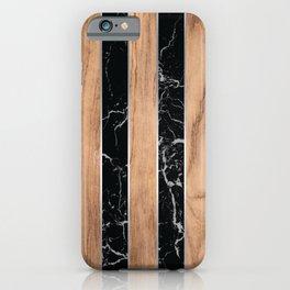 Striped Wood Grain Design - Black Granite #175 iPhone Case
