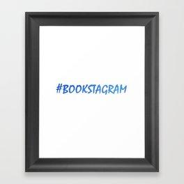 #BOOKSTAGRAM in blue Framed Art Print