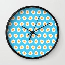 Crazy for fried eggs blue Wall Clock