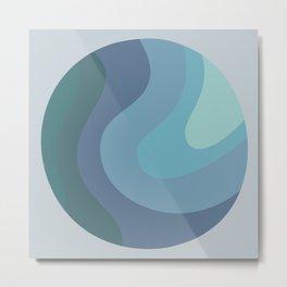 MIDI - Mid Century Modern Graphic Pattern Blue Metal Print