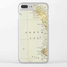 Vintage Map of New Zealand Clear iPhone Case