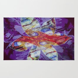 Bright Abstract Flower; Purple, Lavender and Maroon Background; Fluid Abstract 55 Rug