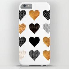 Gold, black, white hearts Slim Case iPhone 6s Plus