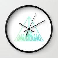 green arrow Wall Clocks featuring Arrow by Azria