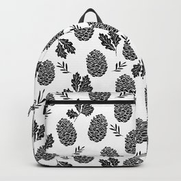 Linocut Pinecones fall autumn nature black and white minimalist botanical gifts Backpack