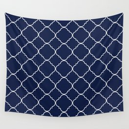 Navy Blue Moroccan Minimal Wall Tapestry