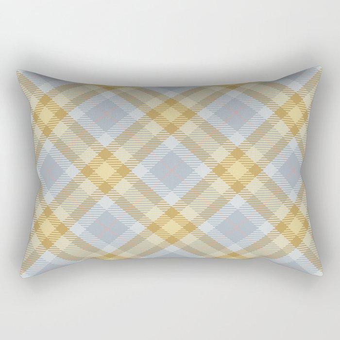 Yellow Gray Plaid Rug Rectangular Pillow