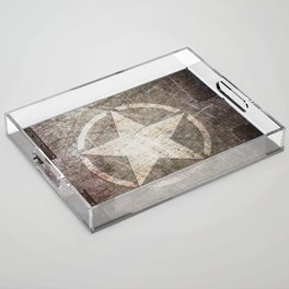 Army Star on Distressed Riveted Metal Door Acrylic Tray