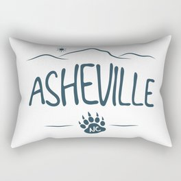 Asheville, NC - Black Bear Paw - AVL 14 Dark Blue Rectangular Pillow