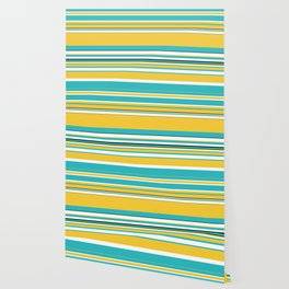 Complex Stripes - Turquoise and Yellow Wallpaper