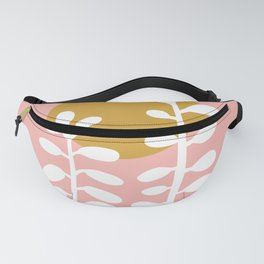 Two plants and sun on pink Fanny Pack