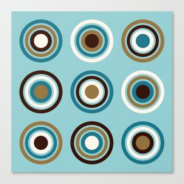 Circles in Rings Teals Gold Brown Cream Canvas Print