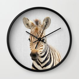 Baby Zebra - Colorful Wall Clock