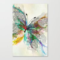 butterfly Canvas Prints featuring Butterfly by Klara Acel