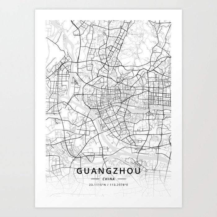 Guangzhou, China - Light Map Kunstdrucke