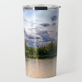 Concept nature : Relaxing by a lake Travel Mug