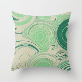 Spiraling Green Throw Pillow