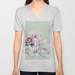 Beautiful Mint Succulents Unisex V-Neck