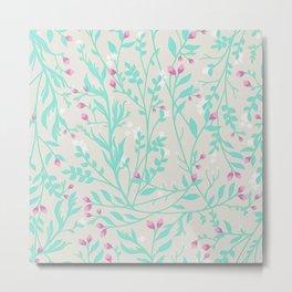 Tangled Aqua Vines Pink Blossom Metal Print