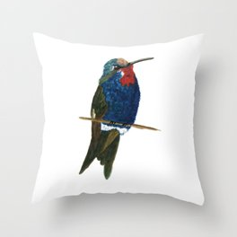 Blue-tufted Starthroat Throw Pillow