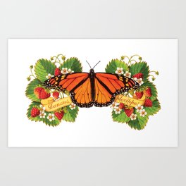 Monarch Butterfly with Strawberries Illustration Art Print